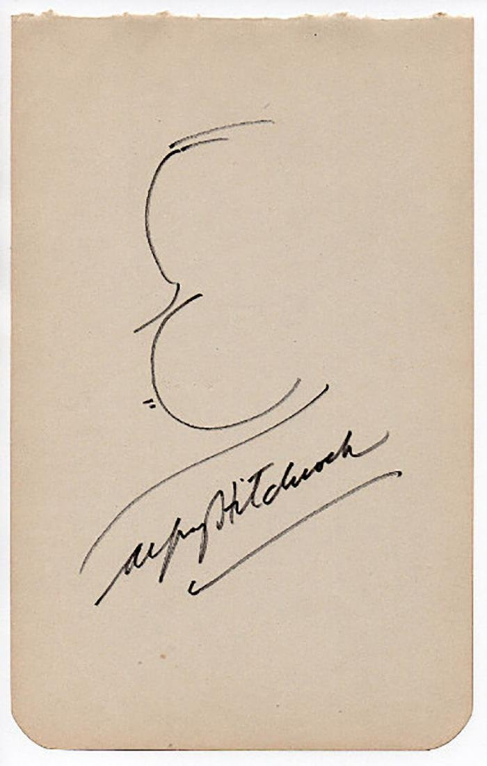 *CLASSIC* ALFRED HITCHCOCK - Famous Hand-Drawn/Signed