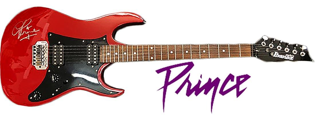 PRINCE - RARE Hand-Signed red electric Ibanez Guitar!