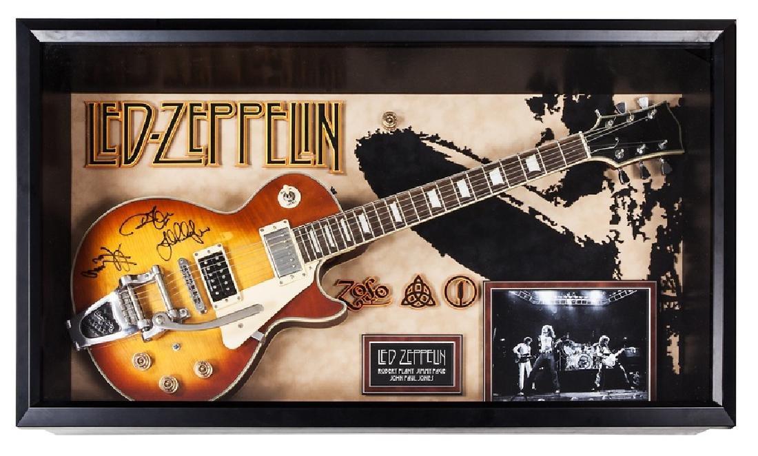 Led Zeppelin Signed and Framed Guitar