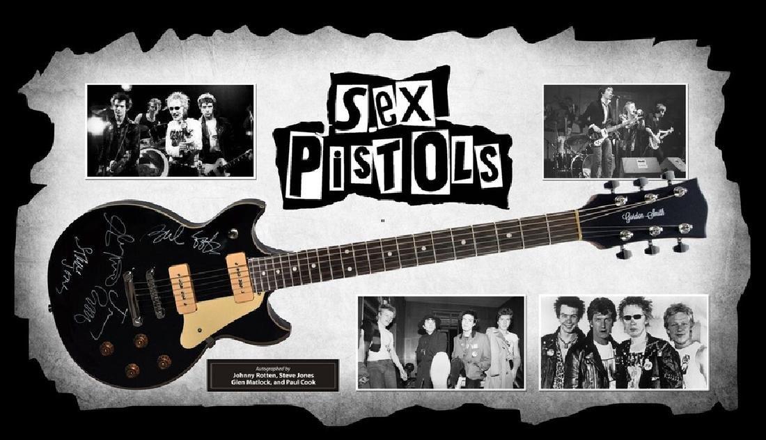 Sex Pistols Signed and Framed Guitar