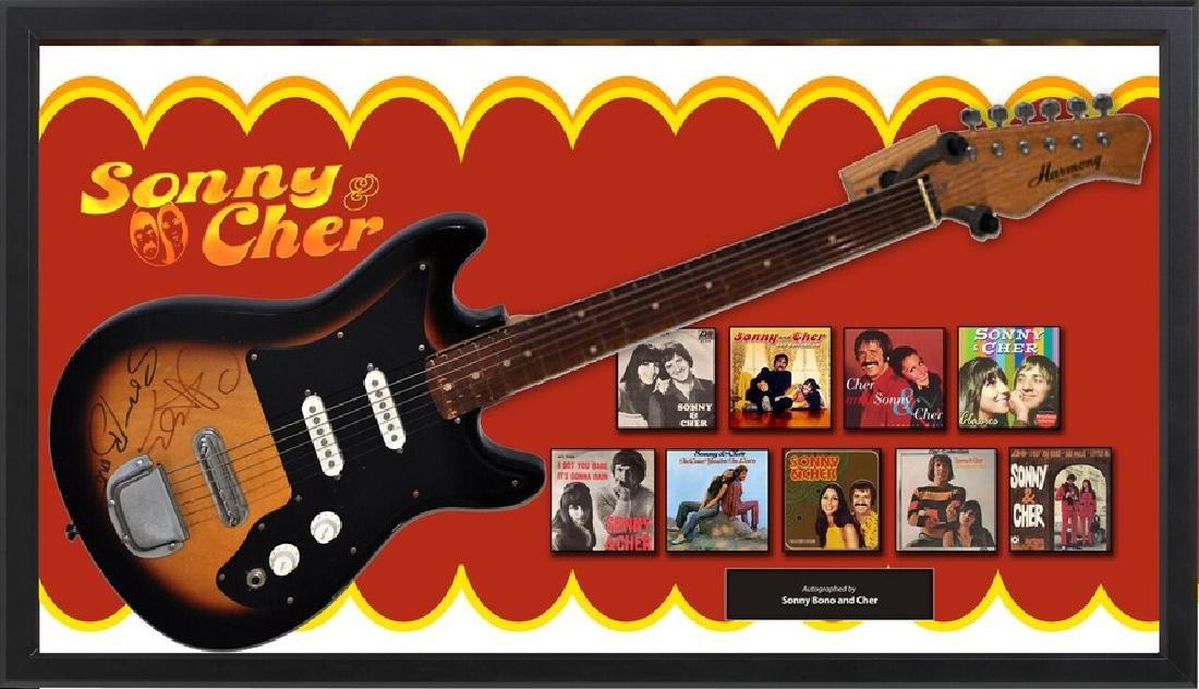 Sonny & Cher Signed and Framed Guitar