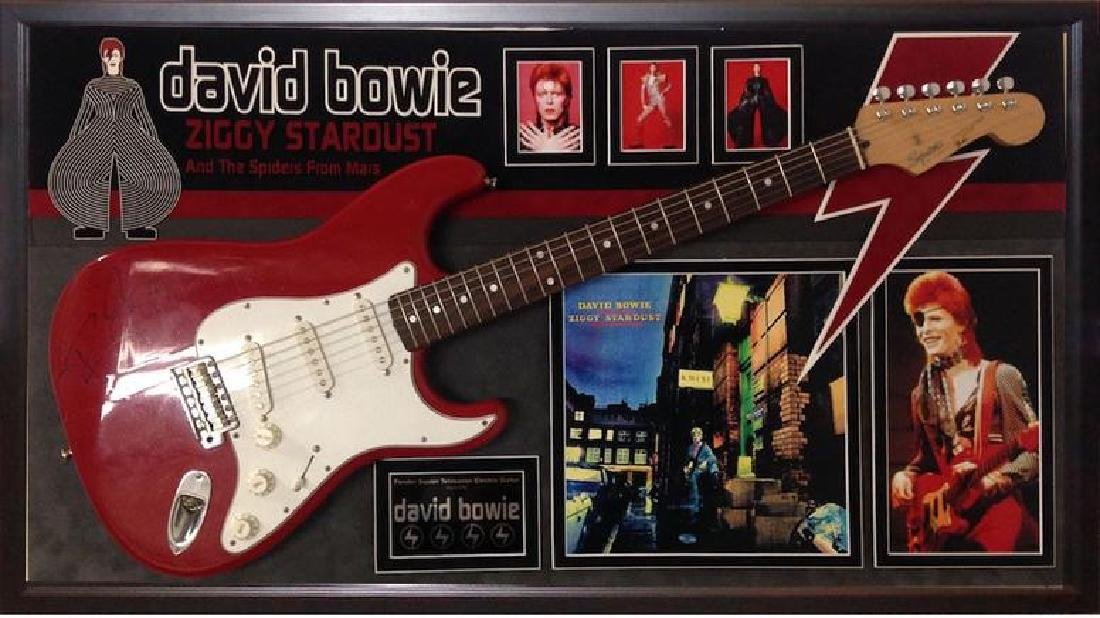 David Bowie Signed and Framed Guitar