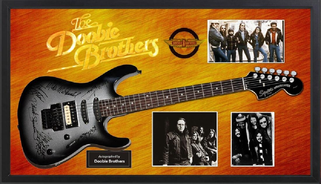 Doobie Brothers Signed and Framed Guitar