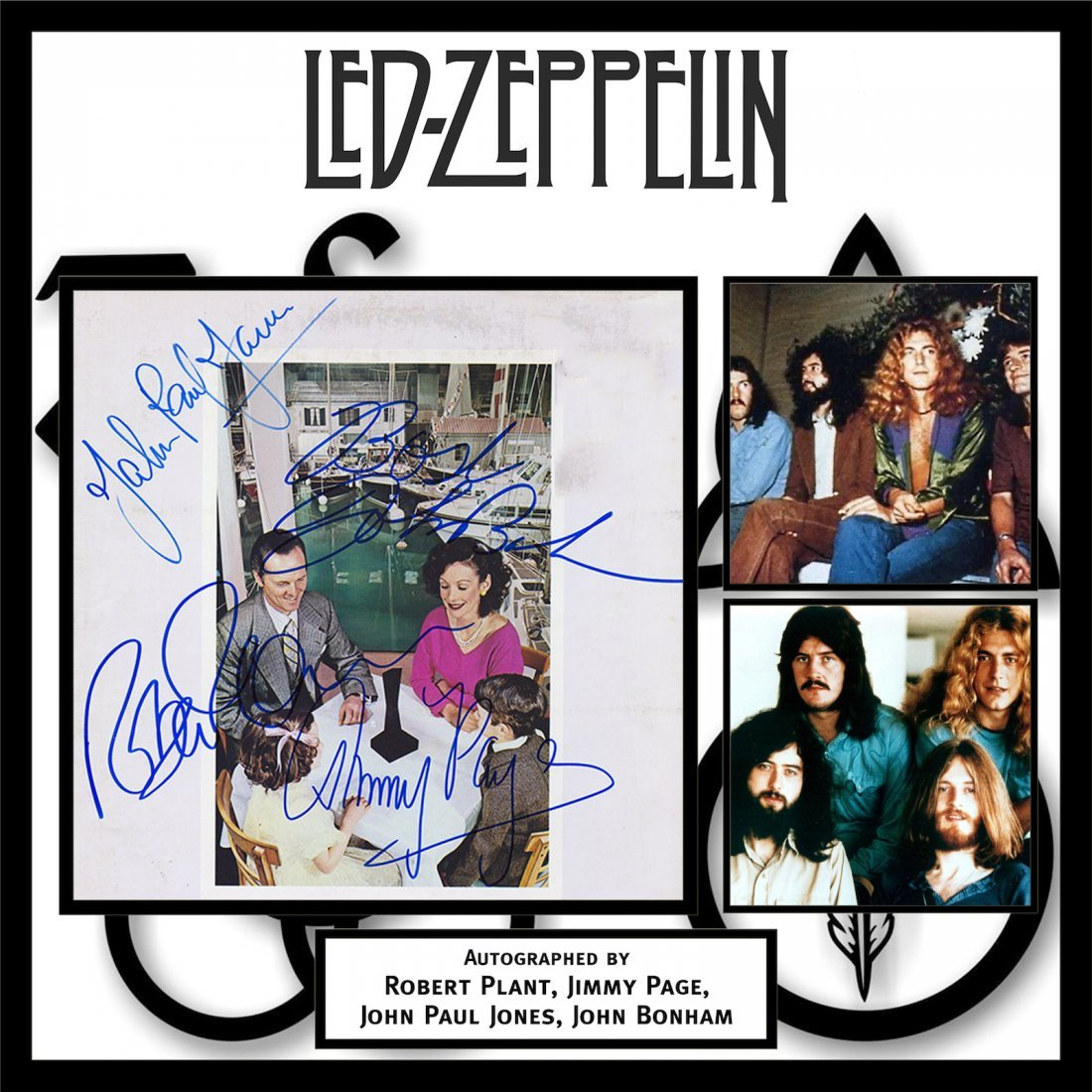 Led Zeppelin Presence Signed Framed Album