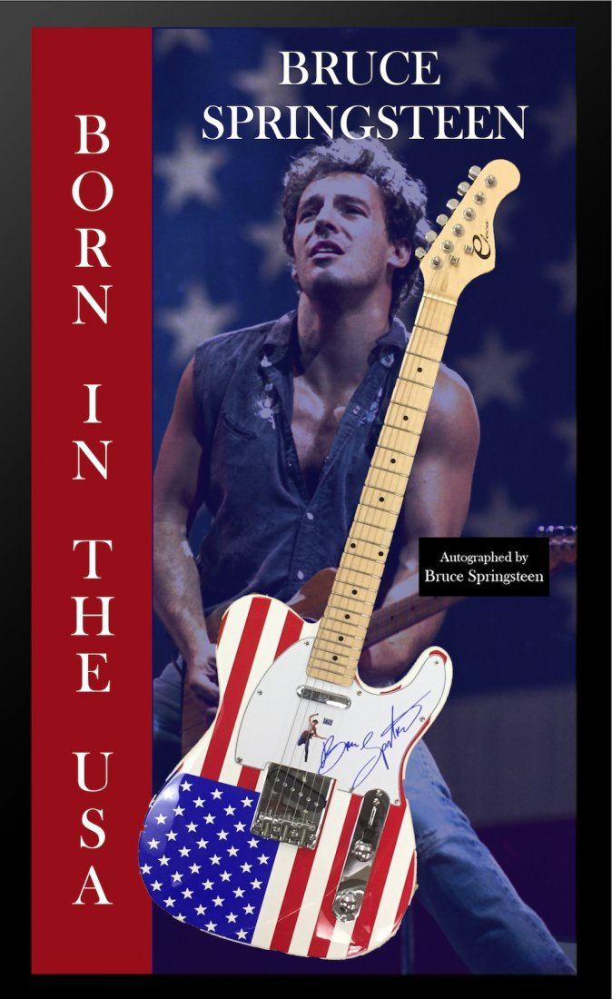 Bruce Springsteen Signed Flag Guitar