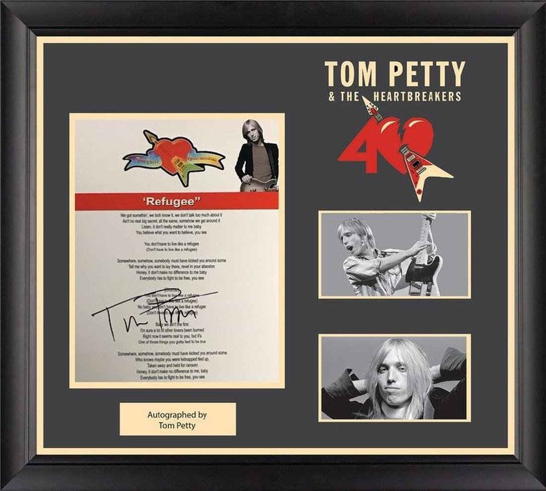 Tom Petty Autographed Lyrics Refugee