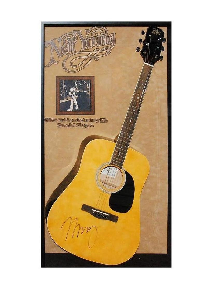 Neil Young Acoustic Signed and Framed Guitar