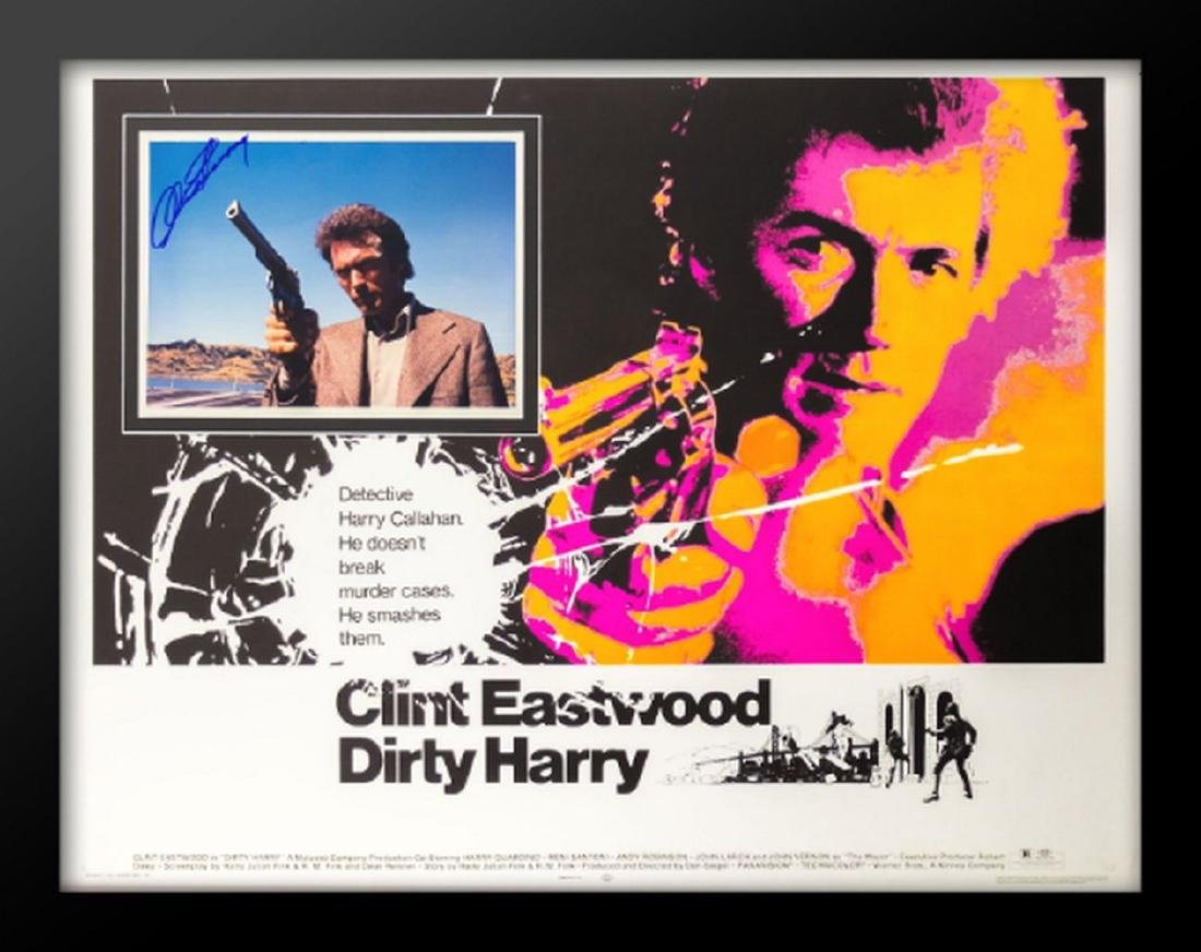 Dirty Harry - Movie Poster with Signed Insert by Clint