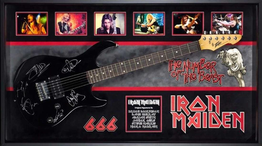 Iron Maiden Signed and Framed Guitar