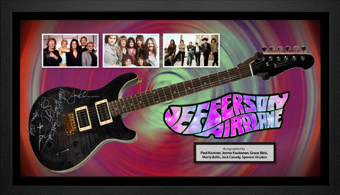 Jefferson Airplane Signed and Framed Guitar