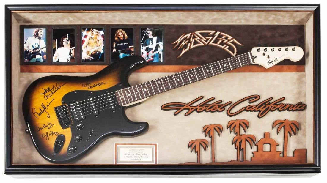 Eagles Signed and Framed Guitar Hotel California