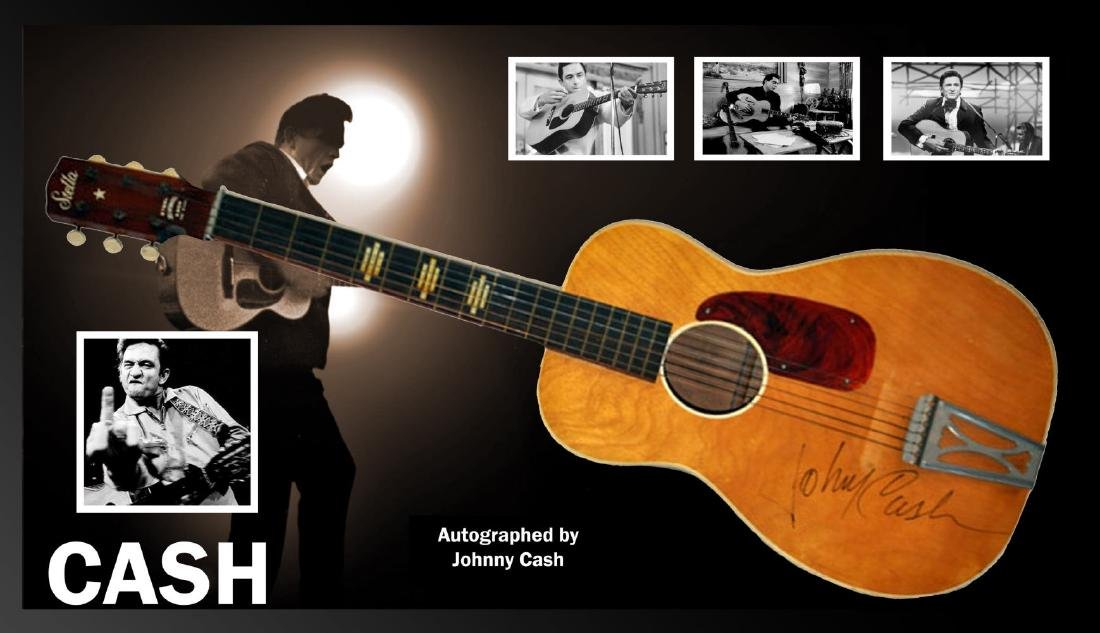 Johnny Cash Acoustic Signed and Framed Guitar