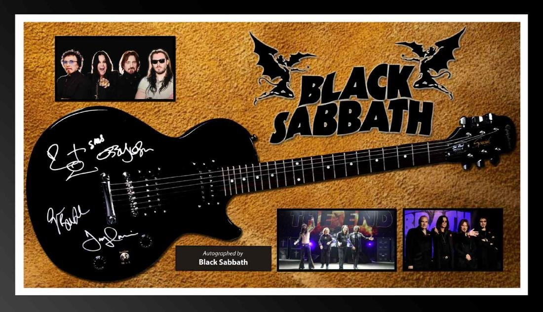 Black Sabbath Signed and Framed Guitar
