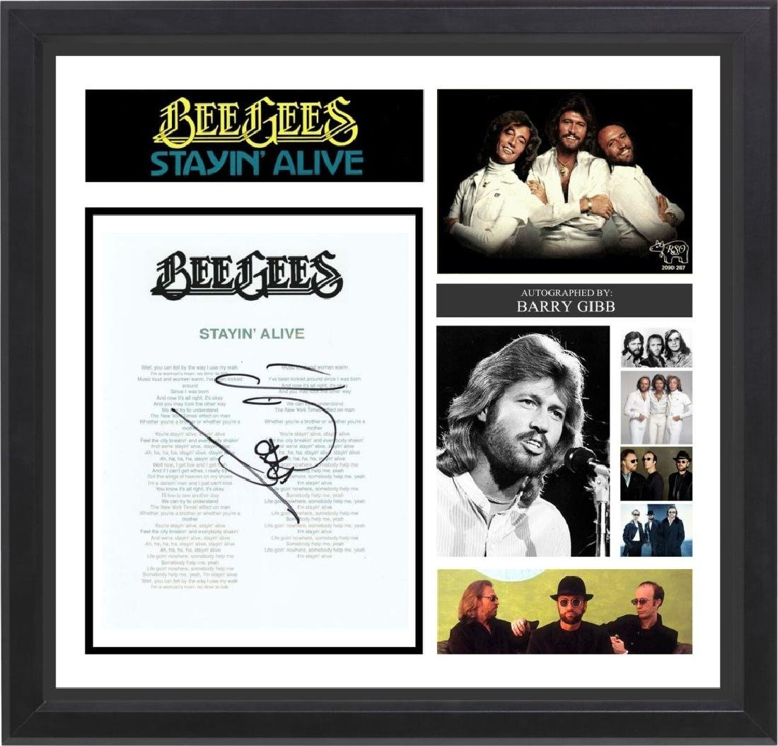 Bee Gees Signed Lyrics Stayin' Alive