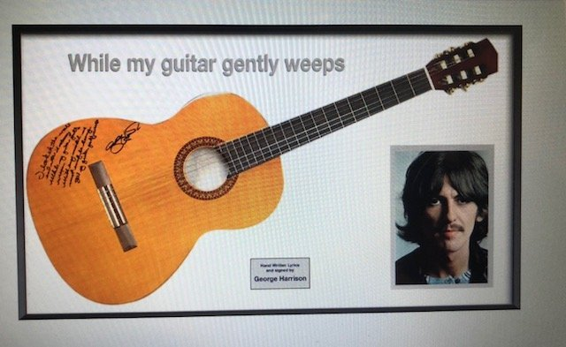 George Harrison Signed Guitar with Handwritten Lyrics