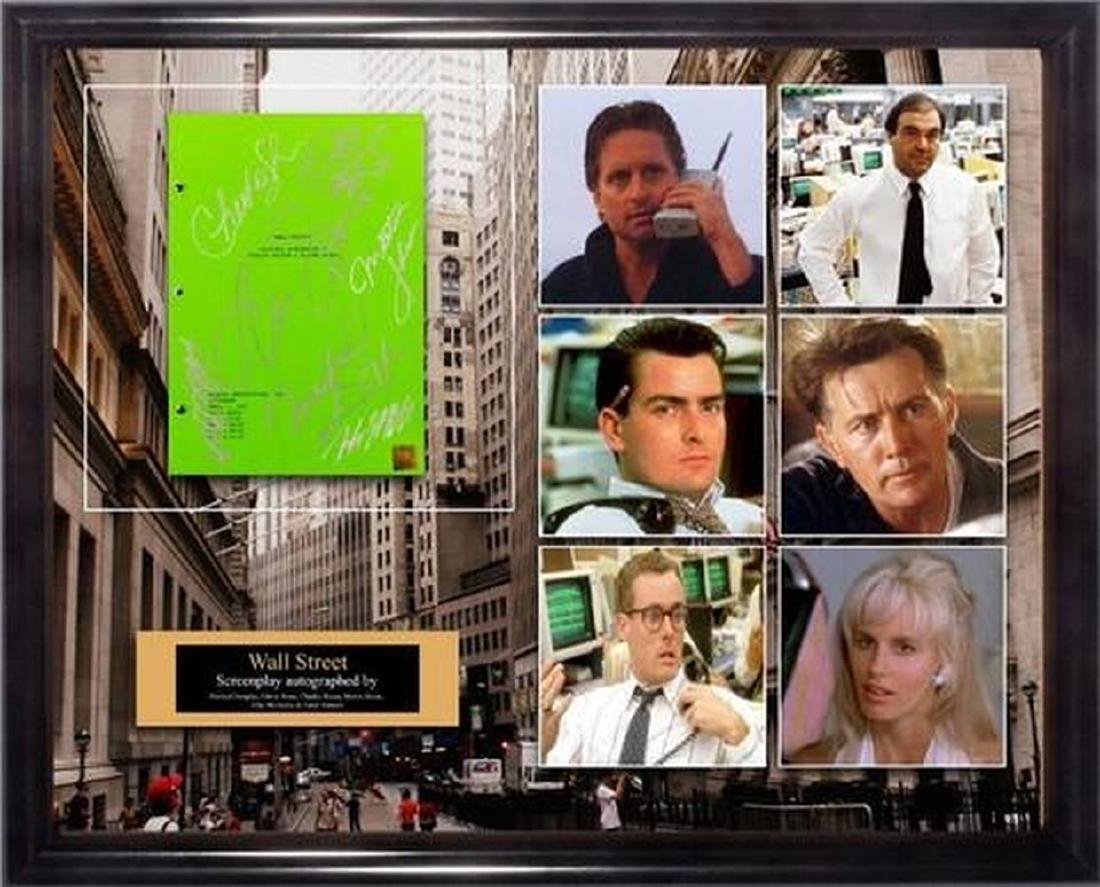 Wall Street - Signed Movie Script in Photo Collage