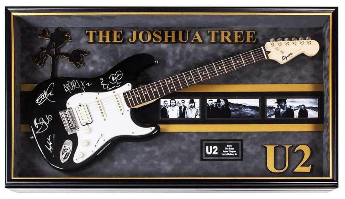 U2 Signed and Framed Guitar