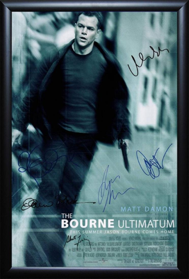 The Bourne Ultimatum - Cast Signed Movie Poster Wood