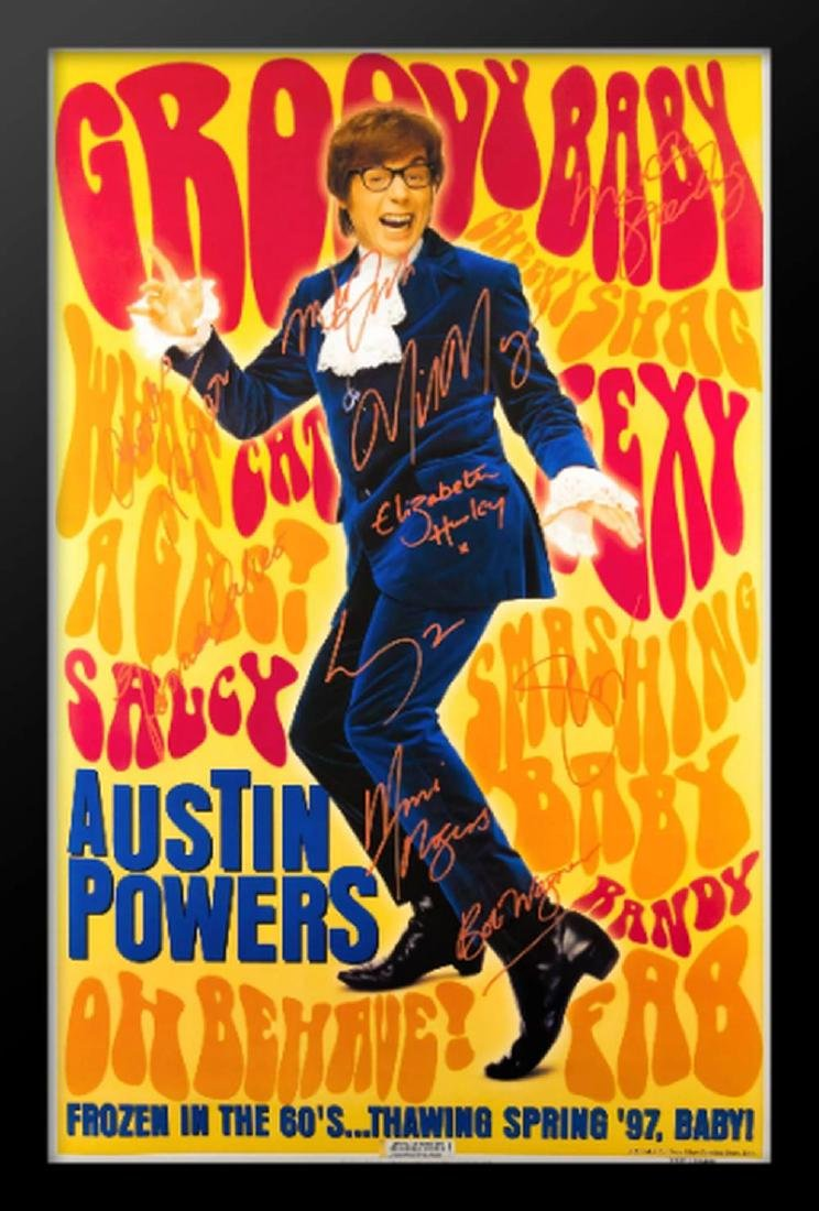 Austin Powers Groovy Baby Cast Signed Movie Poster