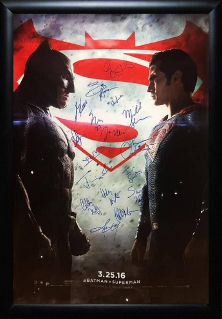 Batman vs Superman - Signed Movie Poster in Wood Frame