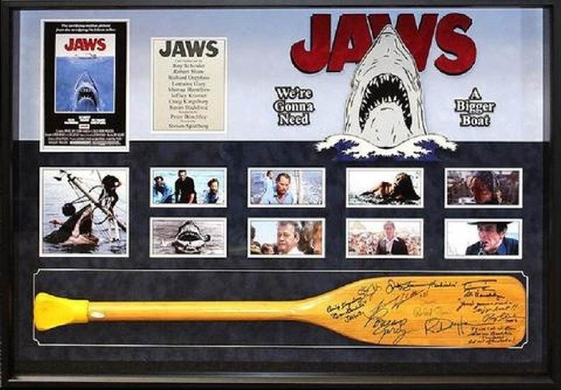 Jaws - Signed Oar by Cast - Custom Framed Photo Collage