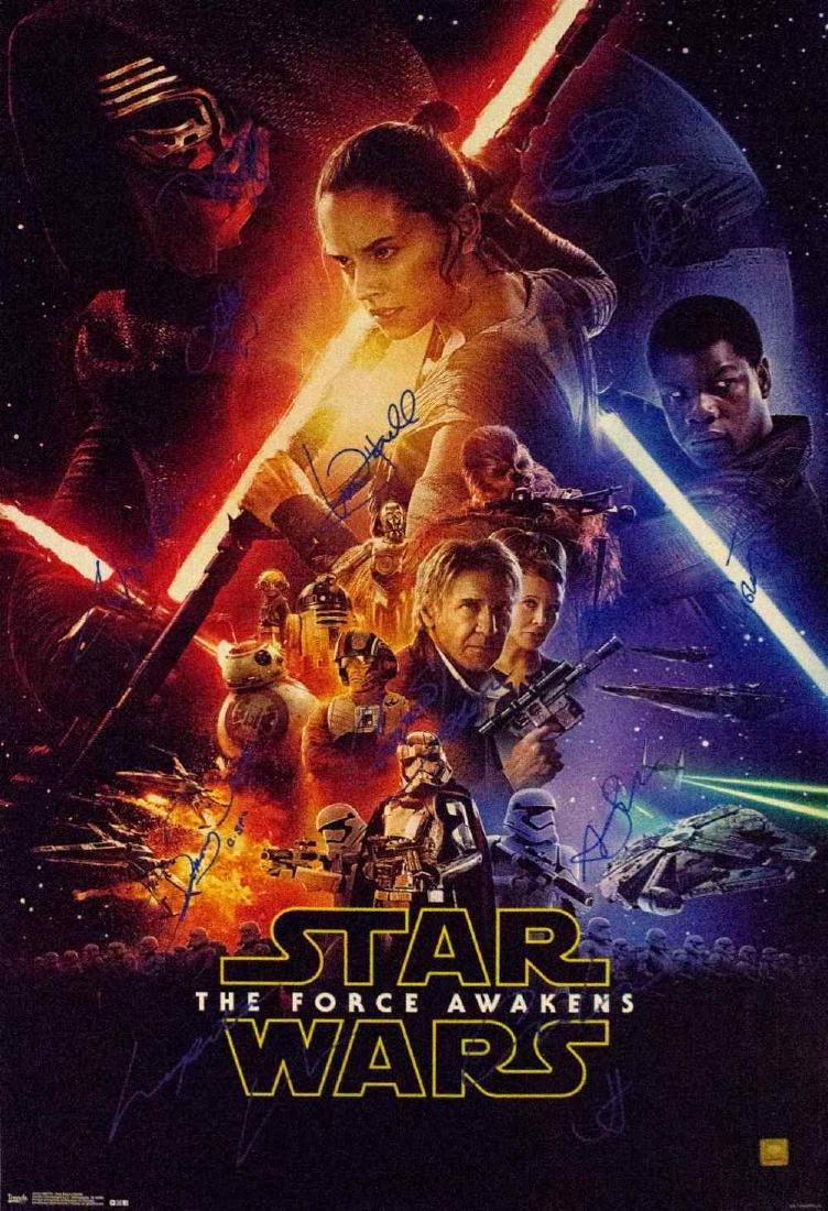 Star Wars - The Force Awakens Cast Signed Movie Poster