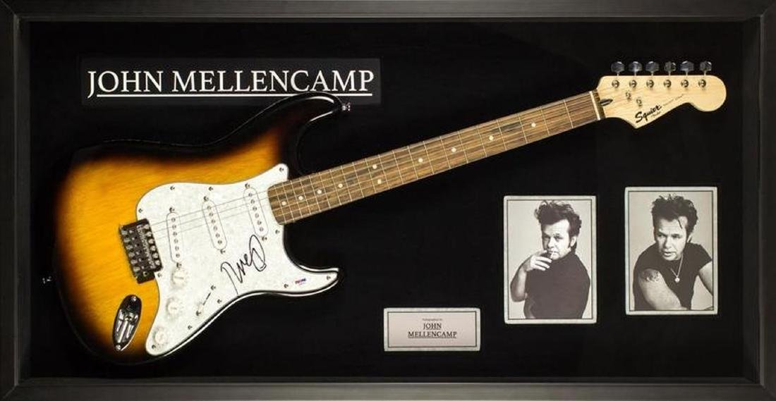 John Mellencamp Signed and Framed Guitar