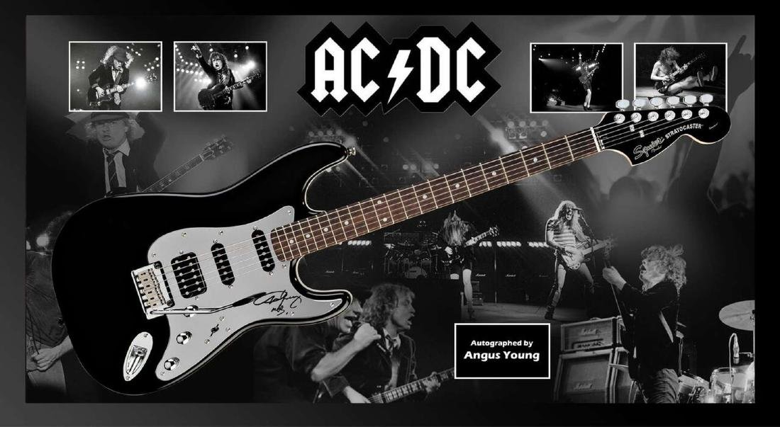 AC/DC Signed and Framed Guitar - Angus Young