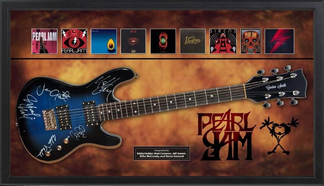 Pearl Jam Signed and Framed Guitar