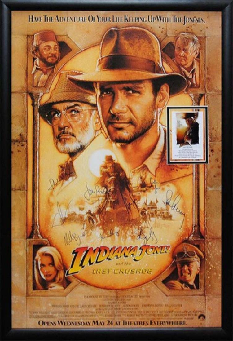 Indiana Jones - Signed Movie Poster in Wood Frame with