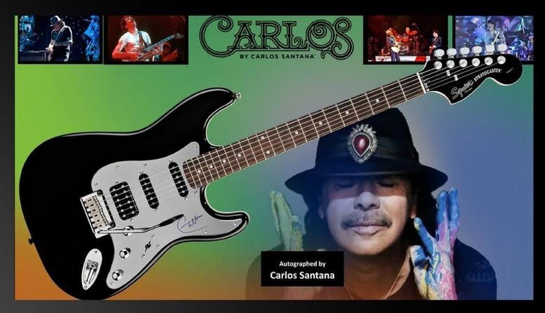 Santana Signed and Framed Guitar