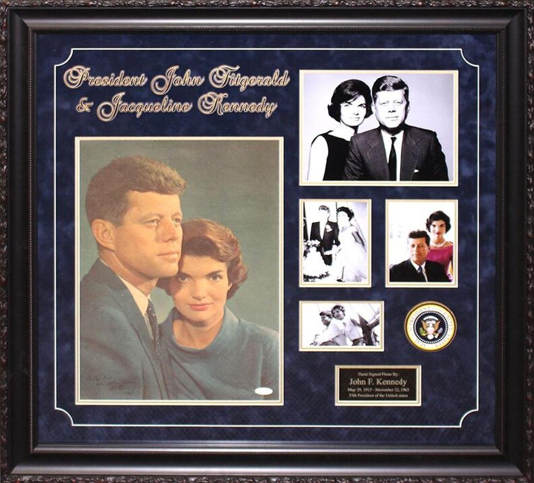 John F Kennedy & Jacqueline Kennedy Autographed Collage