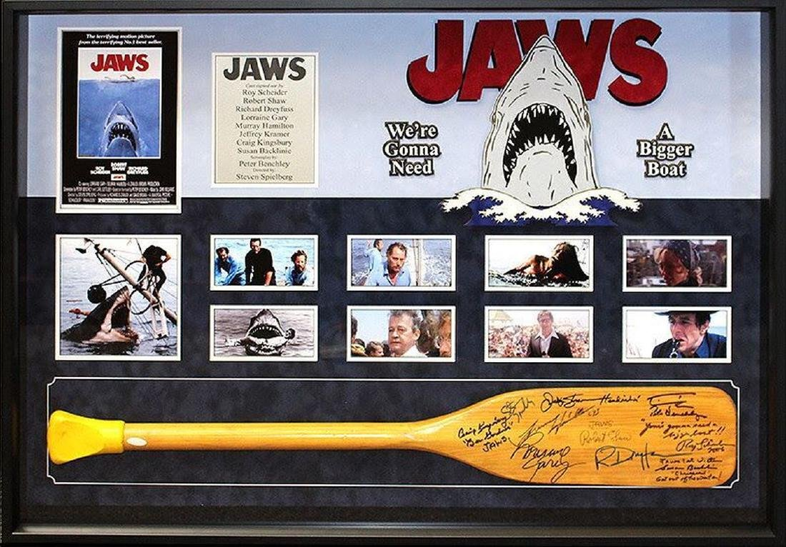 Jaws Cast Signed Oar Collage