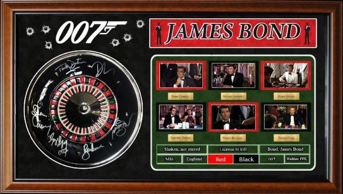 James Bond Signed Roulette Wheel and Collage