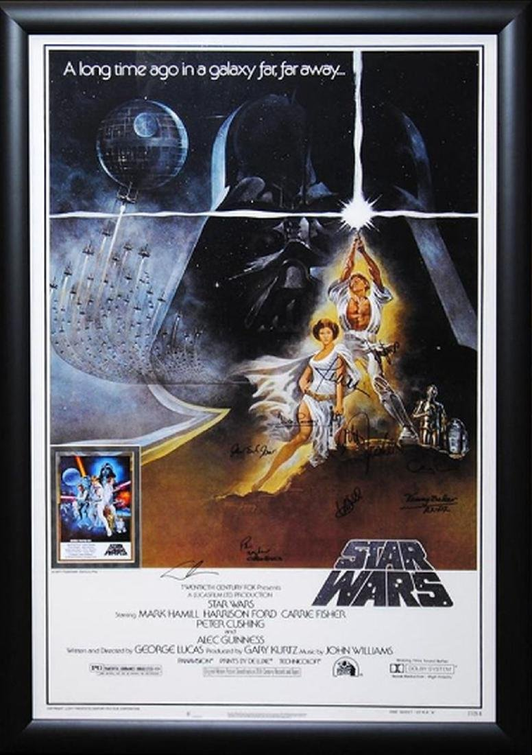 Star Wars A New Hope - Movie Poster Signed by Cast with