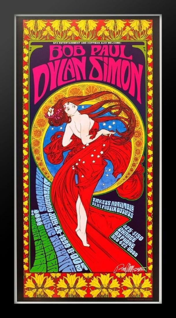 Concert poster designed for Bob Dylan and Paul Simon at