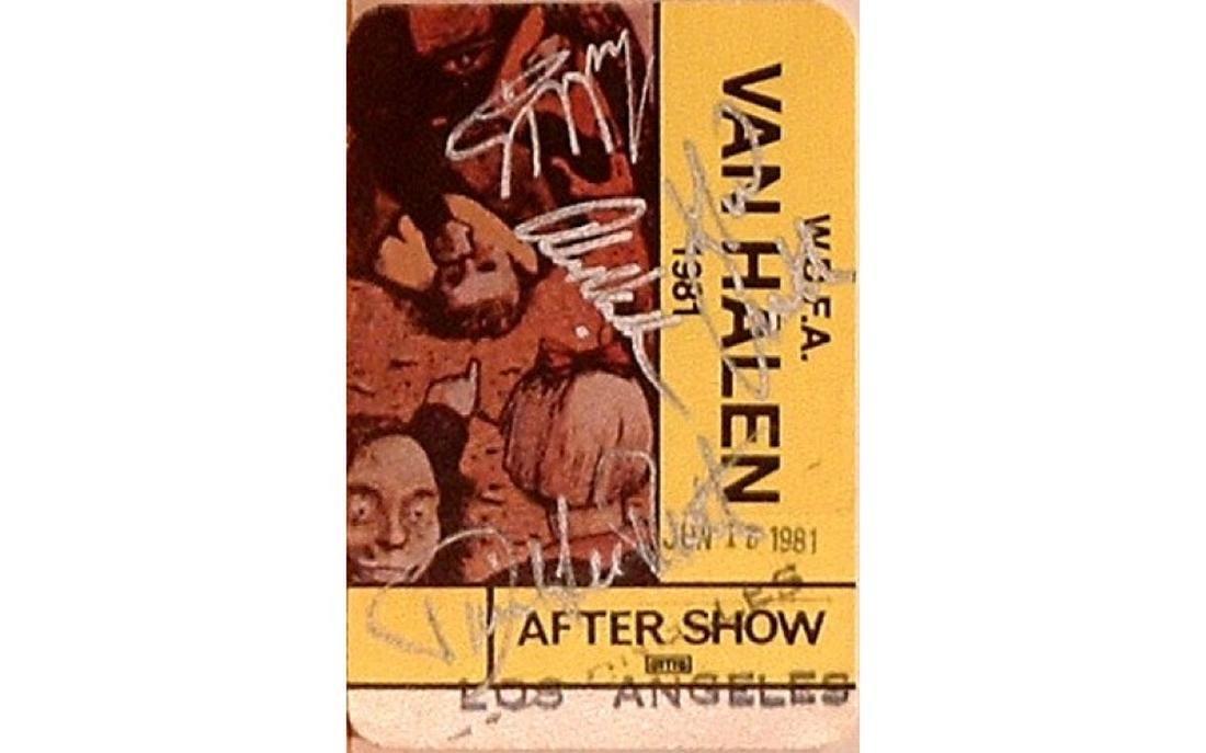 Van Halen Signed 1981 LA Tour Backstage Pass
