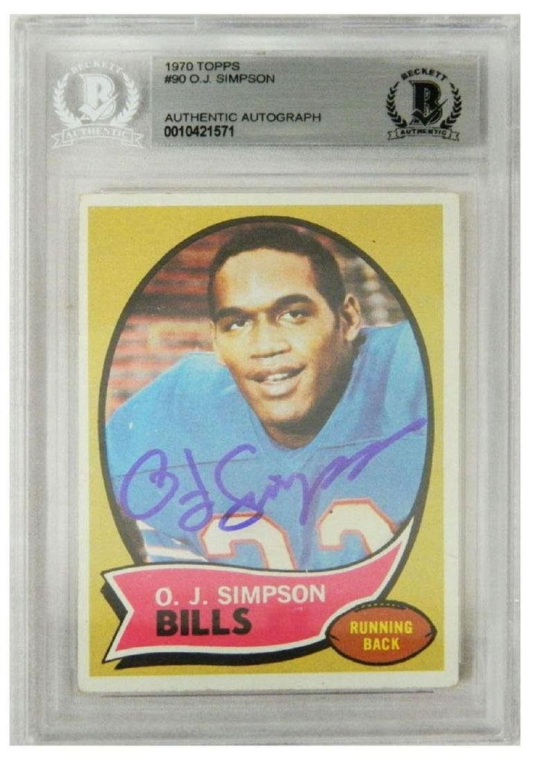 O.J. Simpson Signed Buffalo Bills 1970 Topps Rookie