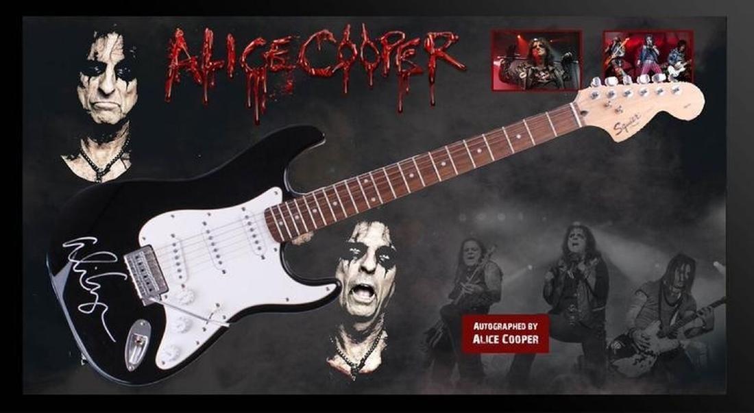 Alice Cooper Signed and Framed Guitar