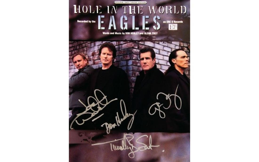 Eagles Signed Hole in the World Sheet Music