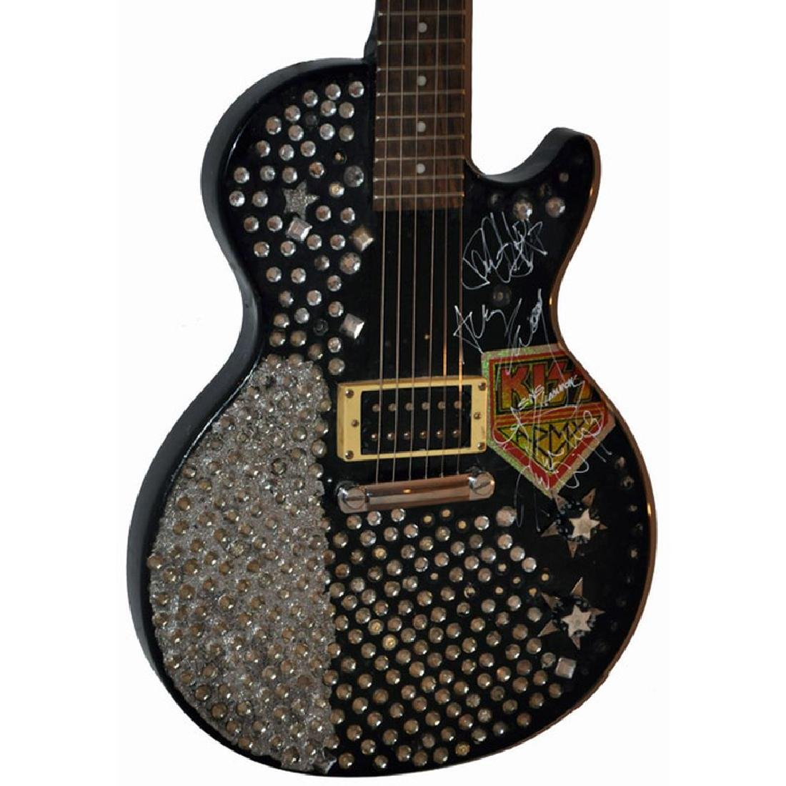KISS Signed Encrusted Guitar