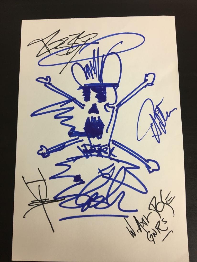 Guns N Roses Band Signed Cut with Slash Sketch