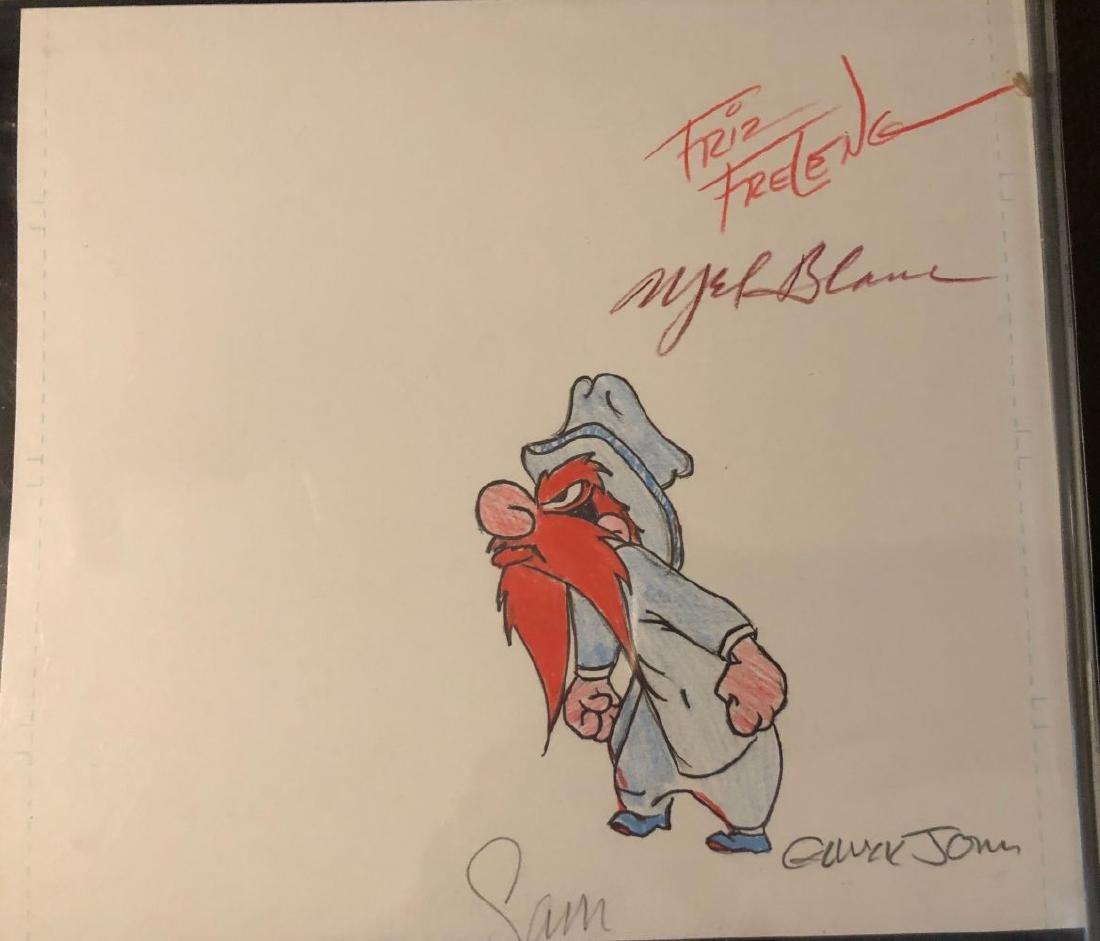 Yosemite Sam Original Sketch Signed by Frelend, Blanc