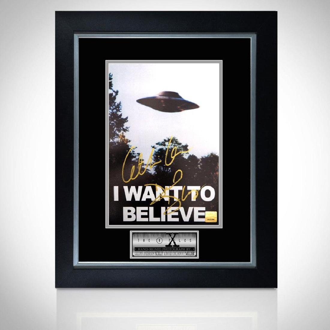 Duchovny & Anderson Signed I Want to Believe Framed