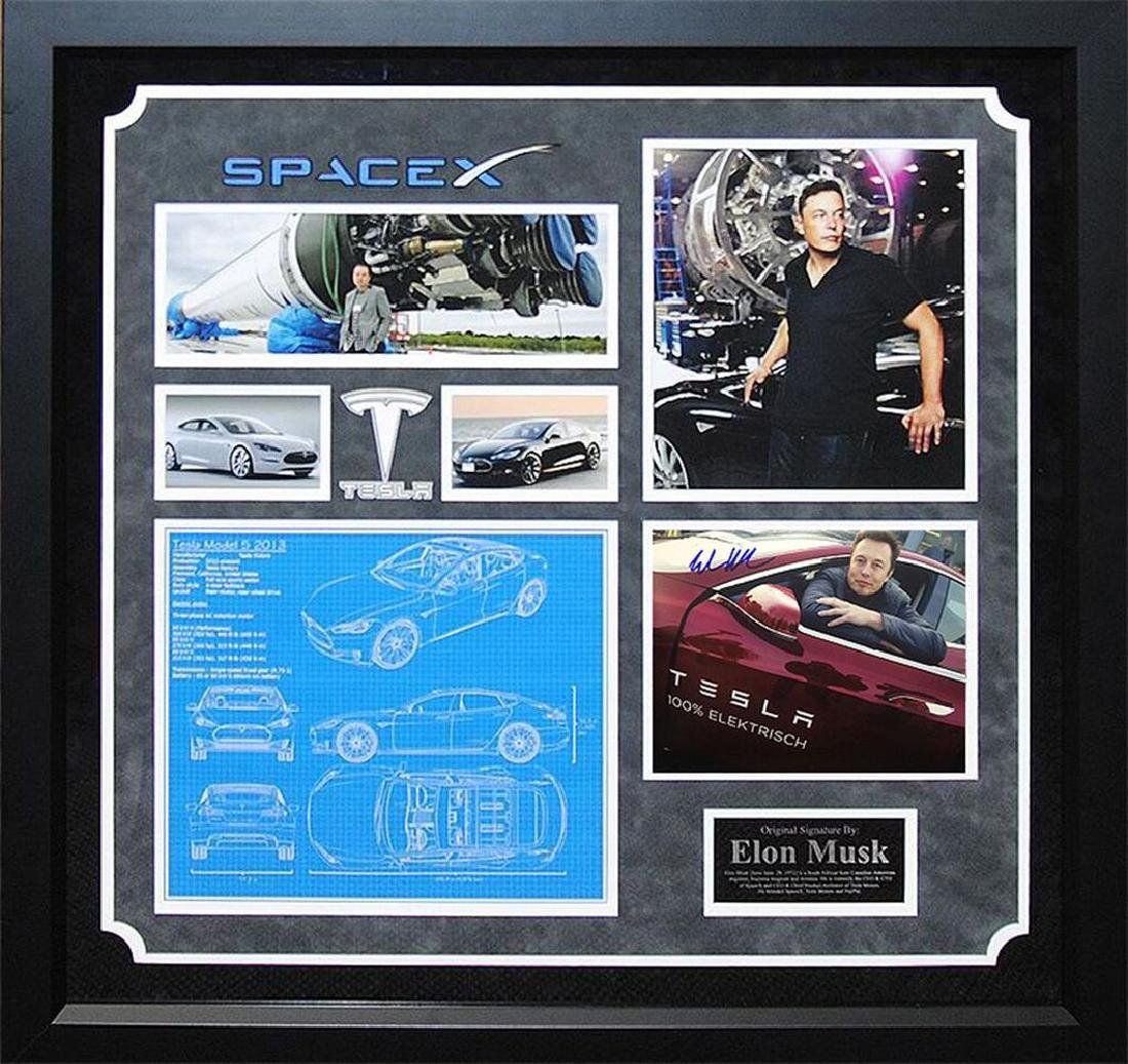 Elon Musk Signed Photo Collage