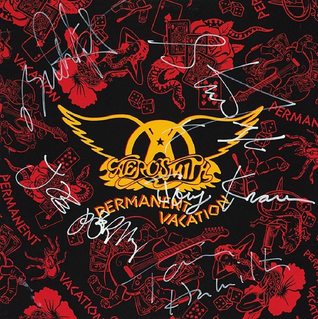Aerosmith Signed Permanent Vacation Album