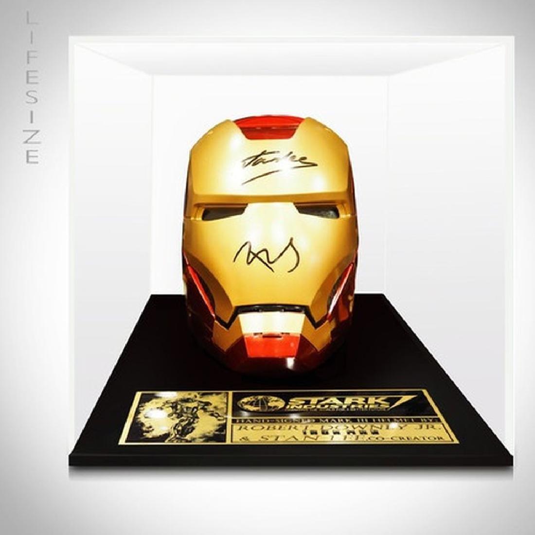 Stan Lee & Robert Downey Jr. Signed Iron Man Mask