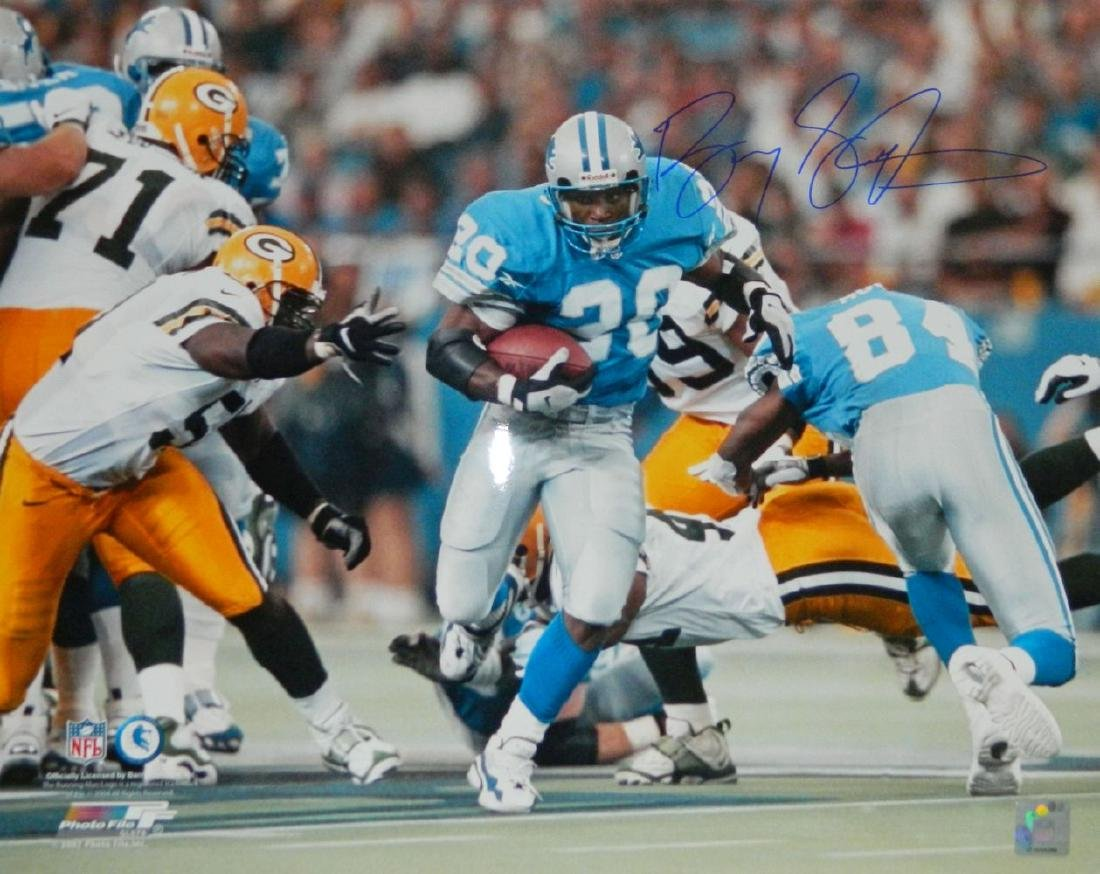 Barry Sanders Signed Lions Action 16x20 Photo vs