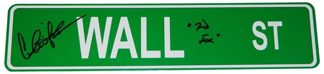 Charlie Sheen Signed Wall ST. 4x18 Green Aluminum