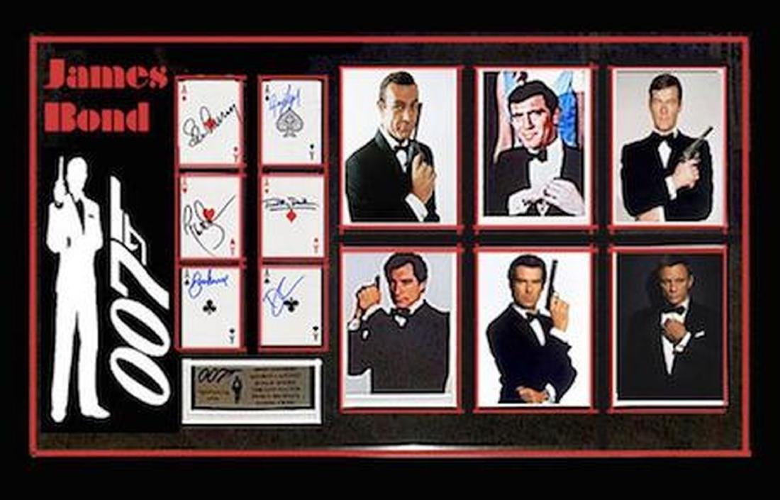 James Bond - Signed Playing Cards Collage